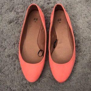 H&M ballet flats. Size 8. Orange/coral.